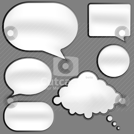 Speech Bubbles stock vector clipart, Glossy Speech Bubbles in Shades of Grey on White Background by JAMDesign