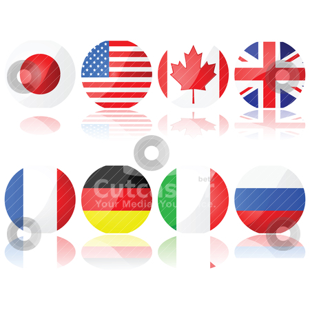 Group of 8 countries stock vector clipart, Illustration set showing buttons with the flags of the countries that compose the G-8 (Group of Eight) by Bruno Marsiaj