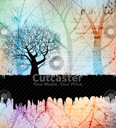 Creative tree stock vector clipart, Creative grungy banner with tree silhouette. eps10 layered vector file.  by jazzman