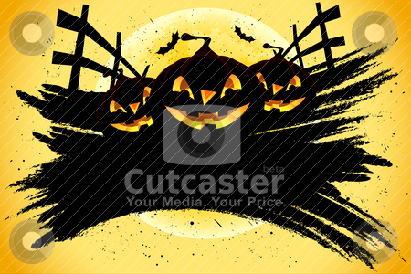 Grungy Halloween background with pumpkins and bats stock vector clipart, Grungy Halloween background with pumpkins  bats and full moon by Vadym Nechyporenko
