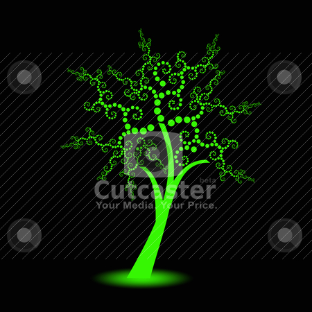 Art trees collection stock vector clipart, Beautiful art trees with polka dots isolated on black background by Ingvar Bjork