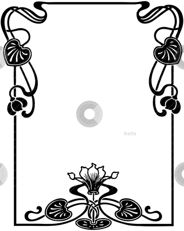 Floral Art Nouveau Frame stock vector clipart, Isolated art nouveau style floral frame, design element by HypnoCreative