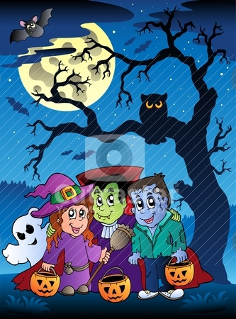 Scene with Halloween tree 3 stock vector clipart, Scene with Halloween tree 3 - vector illustration. by Klara Viskova