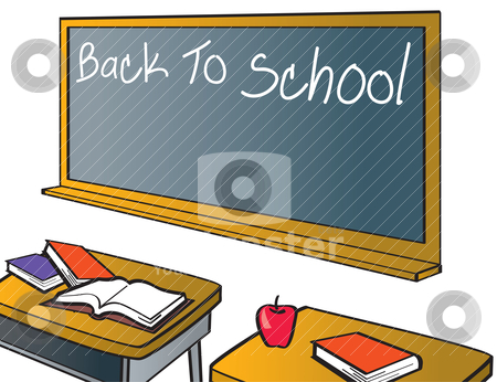 Back To School Chalkboard stock vector clipart, A classroom with th e words back to school hand written on the chalkboard. There is space underneath for additional text. by Jamie Slavy