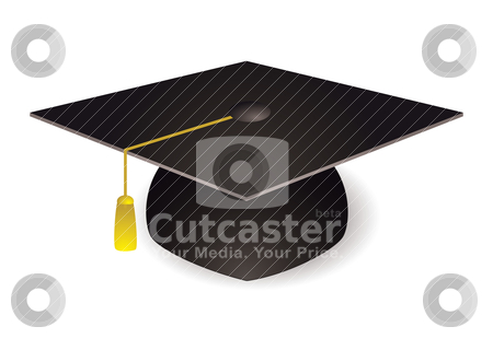 Graduation mortar board hat stock vector clipart, Black graduation mortar board hat with gold trim by Michael Travers