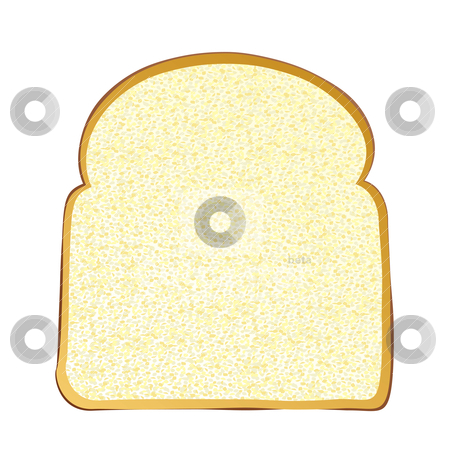 Slice of white bread stock vector clipart, Single slice of wholemeal white bread with crust by Michael Travers
