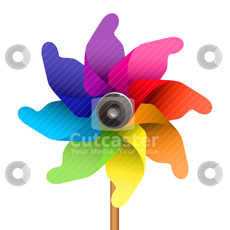 Kids windmill stock vector clipart, Colourful childs windmill or pinwheel by Michael Travers