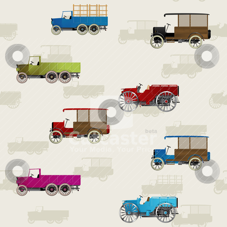 Vintage truck pattern stock vector clipart, Seamless background with vintage cars and trucks in colors by Richard Laschon