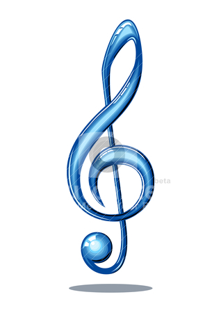 Glossy music note stock vector clipart, Blue 3d glossy music note isolated on white background, full scalable vector graphic by Ela Kwasniewski