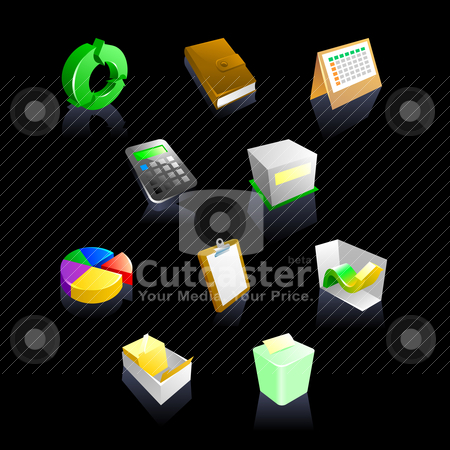 Business iconset collection stock vector clipart, business iconset collection by scorpydesign
