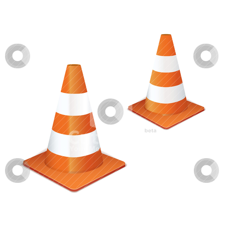 Traffic cone collection stock vector clipart, Two orange traffic highway cones in a line by Michael Travers