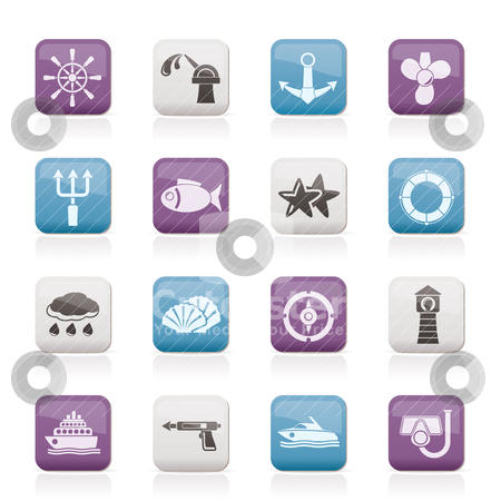 Marine and sea icons stock vector clipart, Marine and sea icons - vector icon set by Stoyan Haytov