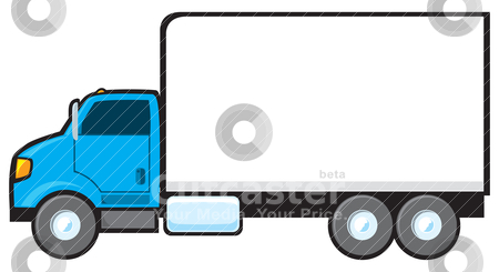 Blue Delivery Truck stock vector clipart, A blue delivery truck with a blank side for text. by Jamie Slavy