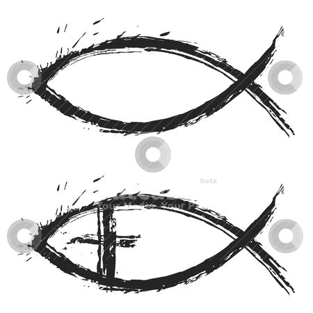 Fish christian stock vector clipart, Christian religion symbol fish created in grunge style by Oxygen64