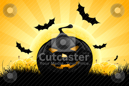 Halloween background with pumpkin stock vector clipart, Halloween background with pumpkin, bats and full moon by Vadym Nechyporenko
