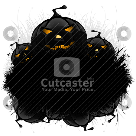 Halloween background stock vector clipart, Halloween black ad background with grass and pumpkin by Vadym Nechyporenko