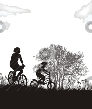 Mother and son on bikes stock vector clipart, illustration of women and a boy in the countryside on bicycles  by Vladim?