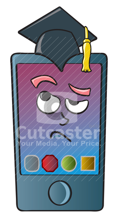 Cartoon Smart Phone stock vector clipart, A cartoon depiction of a smart phone thinking. by Jamie Slavy