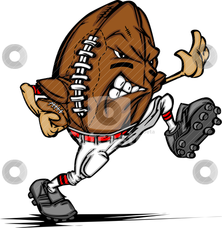American Football Ball Player Cartoon stock vector clipart, Cartoon Image of a Football as an American Football Running Back by chromaco