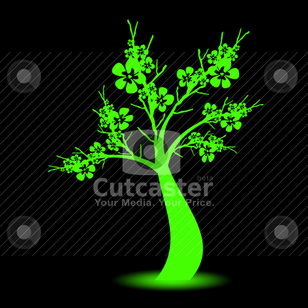 Art tree stock vector clipart, Beautiful art tree on black background by Ingvar Bjork