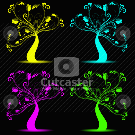 Art trees stock vector clipart, colorfull abstract arts tree on black background by Ingvar Bjork