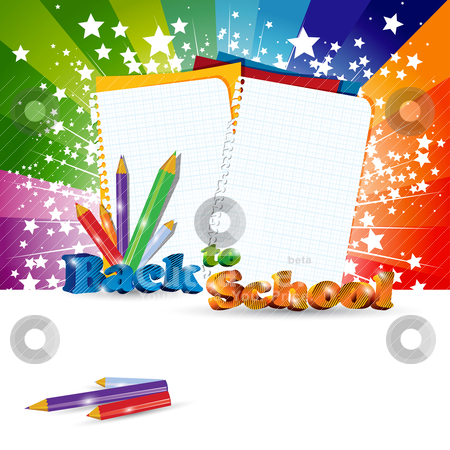 Back to School background stock vector clipart, Back to School background with headline, eps10 vector illustration by Milsi Art