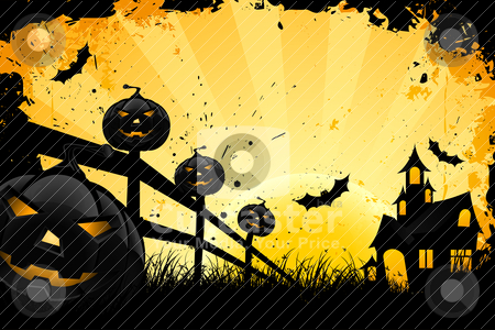 Grungy Halloween background with house pumpkins and bats stock vector