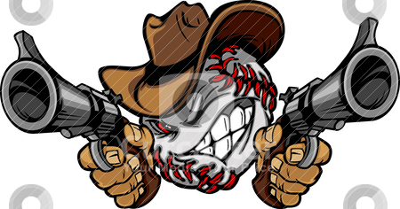 Baseball Shootout Cartoon Cowboy stock vector clipart, Cartoon image of a Baseball with a face and cowboy hat holding and aiming guns  by chromaco