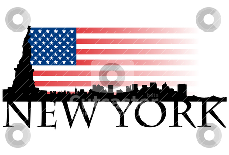 New York flag stock vector clipart, New York flag by graphicnado