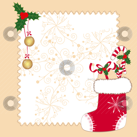 Christmas ornaments greeting card stock vector clipart, Christmas ornaments greeting card by meikis