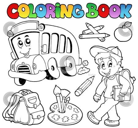 Coloring book school cartoons 2 stock vector clipart, Coloring book school cartoons 2 - vector illustration. by Klara Viskova