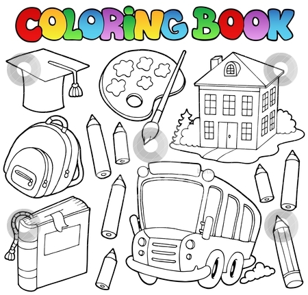 Coloring book school cartoons 9 stock vector clipart, Coloring book school cartoons 9 - vector illustration. by Klara Viskova