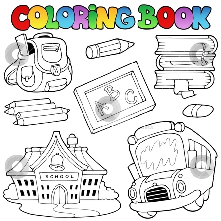 Coloring book school collection 1 stock vector clipart, Coloring book school collection 1 - vector illustration. by Klara Viskova