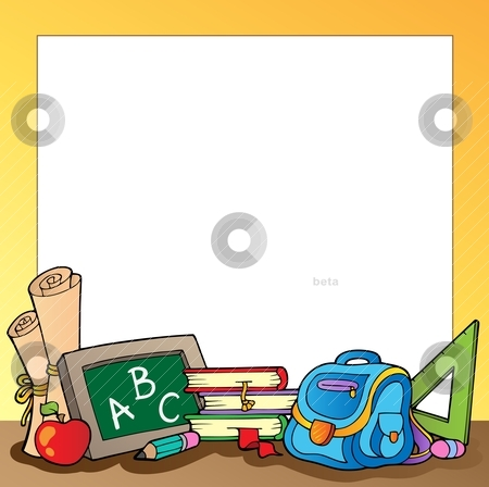 Frame with school supplies 1 stock vector clipart, Frame with school supplies 1 - vector illustration. by Klara Viskova