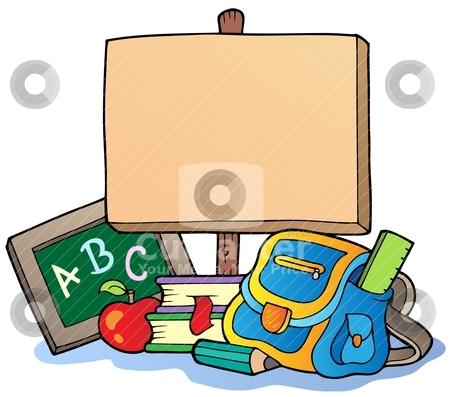 School theme with wooden board stock vector clipart, School theme with wooden board - vector illustration. by Klara Viskova