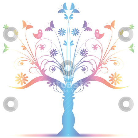Art tree stock vector clipart, Colorful art tree with birds and butterfly on white background by Ingvar Bjork