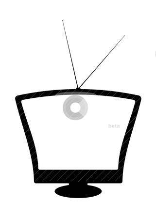 Retro silhouette tv stock vector clipart, Black and white retro television with blank screen by Michael Travers