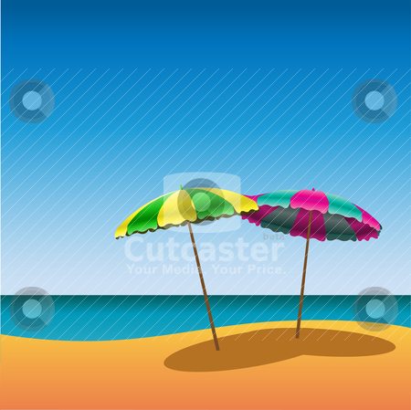 Beach stock vector clipart, A Sandy Beach with two parasols by Binkski Art