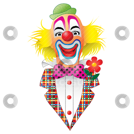 Circus Clown stock vector clipart, A Circus Clown  with Flower by Binkski Art