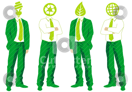 Green business, vector stock vector clipart, ecological thinking green businessmen, vector by Beata Kraus