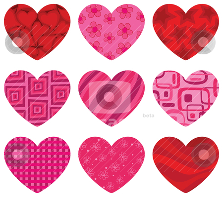 Patterned Hearts stock vector clipart, Patterned hearts icon set. EPS 8 CMYK with global colors vector illustration. by wingedcats