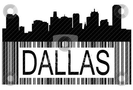 Dallas barcode stock vector clipart, City of Dallas high rise buildings skyline by marmaro