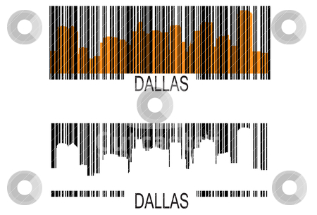 Dallas barcodes stock vector clipart, City of Dallas high rise buildings skyline by marmaro