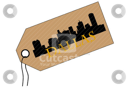 Dallas tag stock vector clipart, City of Dallas high rise buildings skyline by marmaro