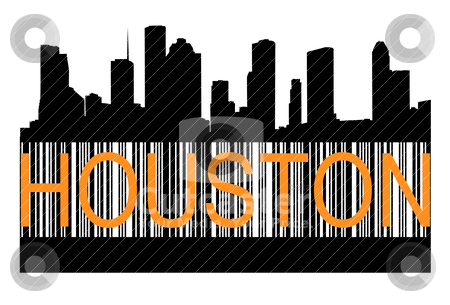 Houston barcode stock vector clipart, City of Houston high rise buildings skyline by marmaro