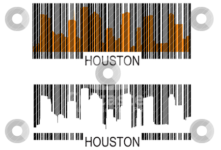 Houston barcodes stock vector clipart, City of Houston high rise buildings skylineHouston by marmaro