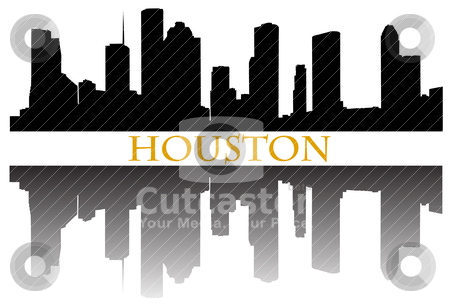Houston stock vector clipart, City of Houston high rise buildings skyline by marmaro