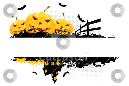 Grungy Halloween background stock vector clipart, Grungy Halloween background with pumpkins  bats and house isolated on white by Vadym Nechyporenko