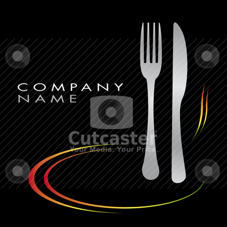 Cooking Illustration with fork, knife and plate stock vector clipart, Illustration cooking business, restaurant, fast food, cuisine by tristanbm