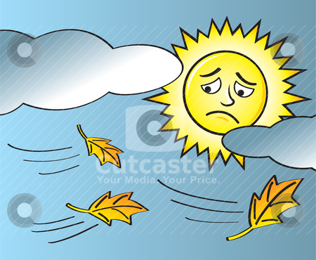 Sad Sun End of Summer stock vector clipart, The onset of fall with leaves blowing in the wind as a sad sun looks on through the clouds. by Jamie Slavy